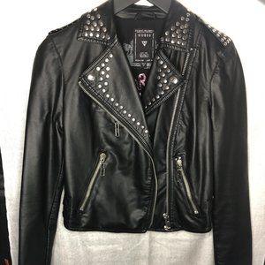 (NEW) GUESS black jacket w moto zip & stud detail